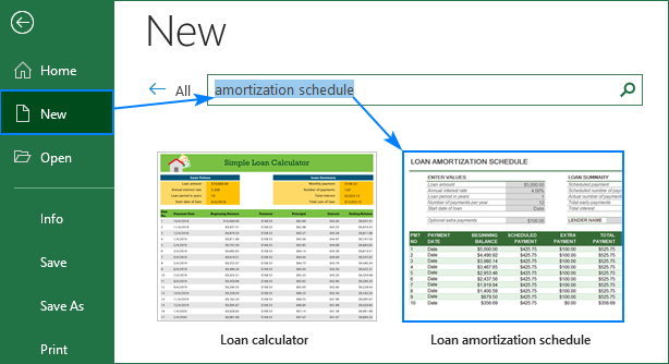 Excel amortization templates