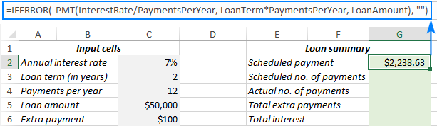 Calculate a scheduled payment.