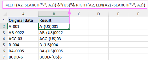 Adding text after a specific character