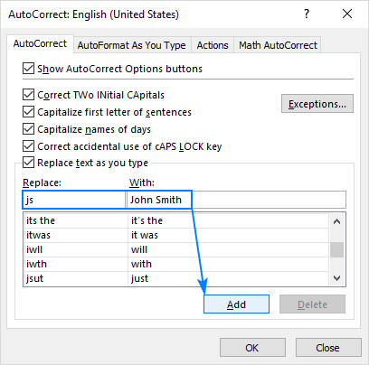 Adding a new AutoCorrect entry