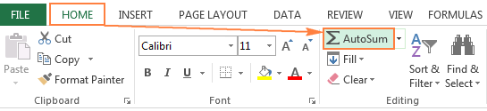 The AutoSum button in Excel