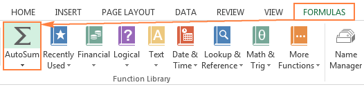 Another location of the AutoSum button in Excel