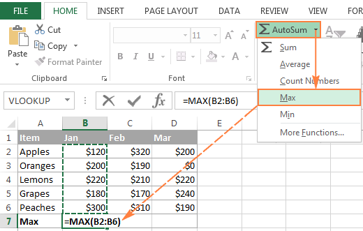 Using Excel AutoSum to automatically insert formulas other than SUM
