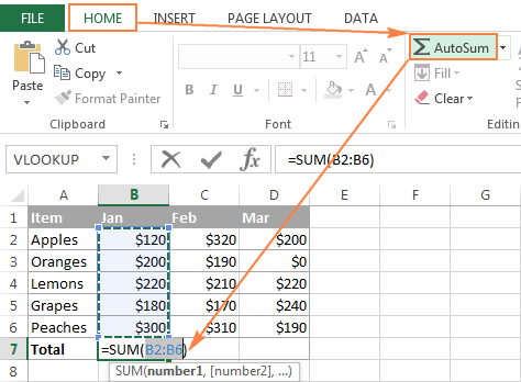Click the AutoSum button on either the Home or Formulas tab.