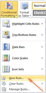 On the Home tab, in the Styles group, click Conditional Formatting - New Rule….