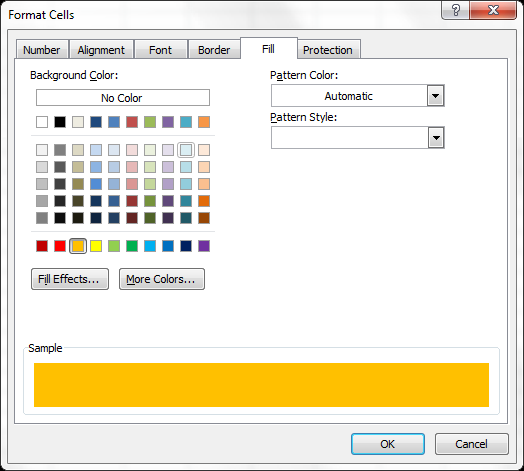 Change the background color of selected cells using the Format Cells dialog.