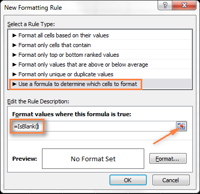 Enter the formula and select a range of cells.