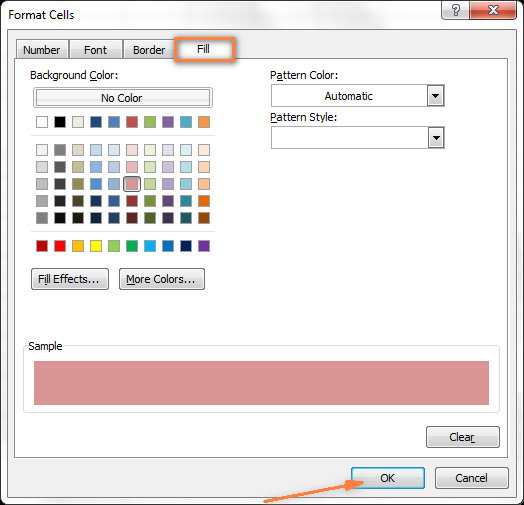 In the Format Cells dialog box, on the Fill tab, select the background color of your choice.