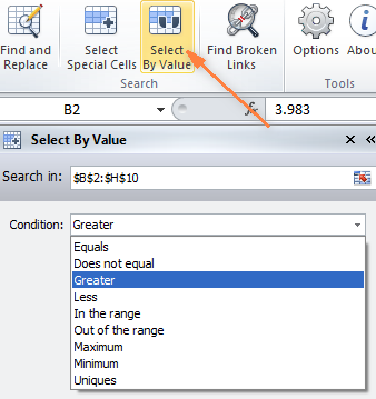 Select Special Cells add-in for Excel