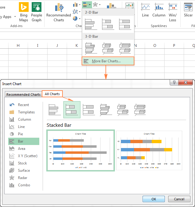 View all available bar chart types in Excel