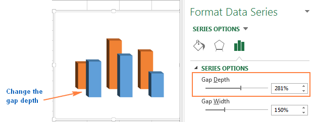 Changing the gap depth between data series in 3-D charts