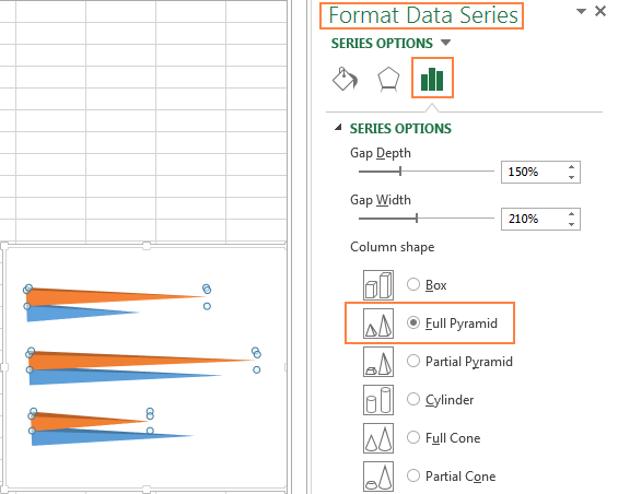 Creating a pyramid graph in Excel 2010 and Excel 2016