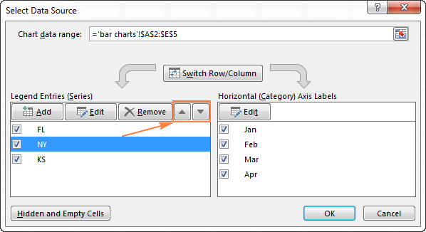 Move the selected data series up or down by using the corresponding arrow