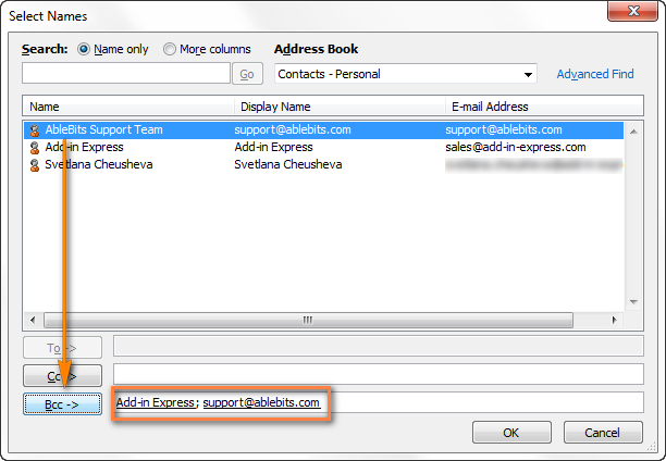 Add Bcc recipients by selecting the contacts from the Outlook Address book.