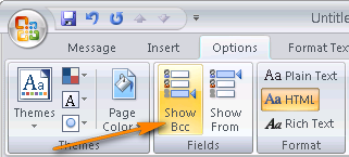 Make the Bcc field appear in Outlook 2007.