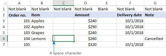 Find out why a specific column in not blank.