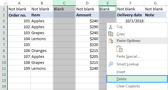 Deleting blank columns in Excel