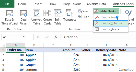 Deleting empty columns in Excel with a button click