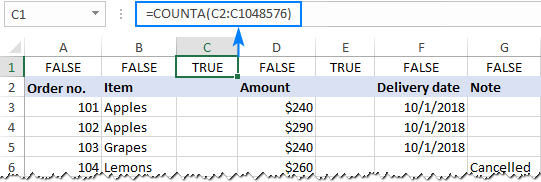 Identify empty columns by using a formula.