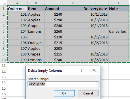 Deleting empty columns with VBA