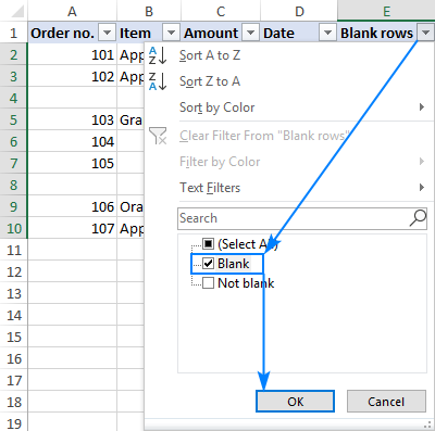 Filtering blank rows