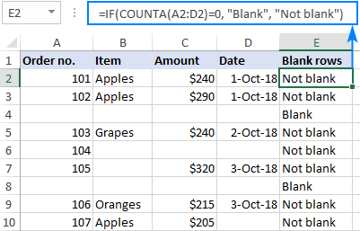 Formula to identify blank rows in Excel