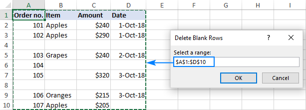 Macro to delete blank rows in Excel
