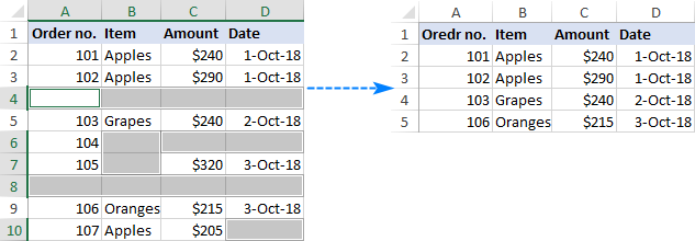 Wrong way to remove blank lines in Excel