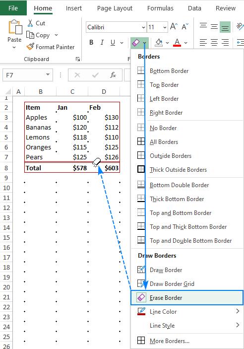 Erasing borders in Excel