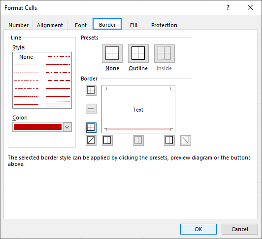 Setting up a custom border style in Excel