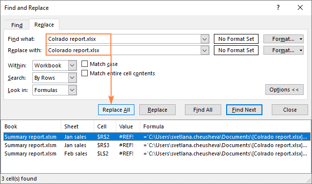 Replacing broken links in Excel