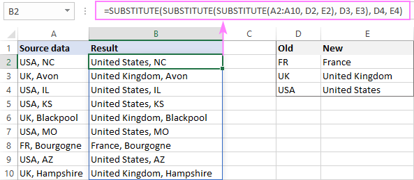 Find and replace multiple values with nested SUBSTITUTE in Excel 365