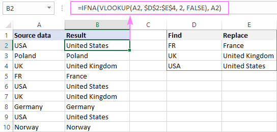 IFNA VLOOKUP formula for mass search and replace