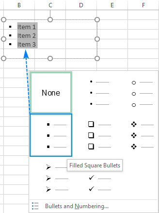 A bulleted list in a text box in Excel