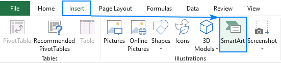 Adding a SmartArt graphic in Excel