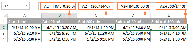 Adding and subtracting minutes in Excel