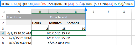 Formula to add hours, minutes and seconds to time in Excel