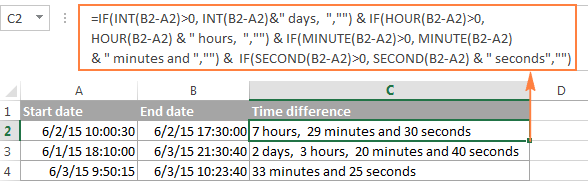 Excel time difference formula that ignores zero values