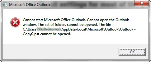 Error: Cannot start Microsoft Office Outlook. Cannot open the Outlook window.