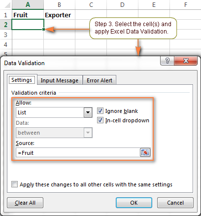 Select the cell(s) in which you want your primary drop-down list to appear and apply Excel Data Validation.