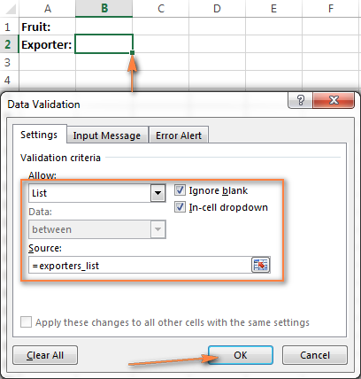 Setting up Excel Data Validation for the dynamic cascading drop-down list