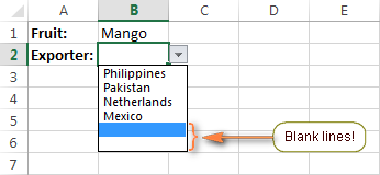 Blank rows appear in the dependent drop-down menu.