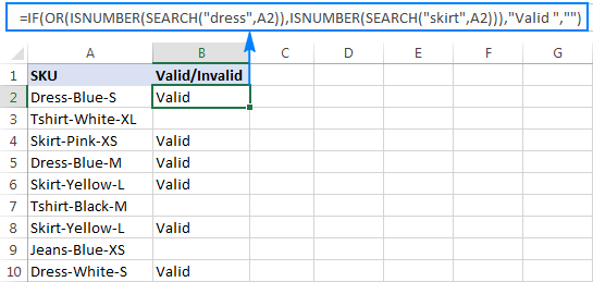 Excel formula to check if a cell contains one of many strings