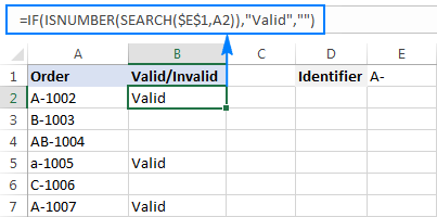 Excel formula: If cell contains specific text string
