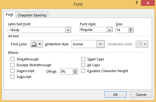 Choose the Font option to format the title text