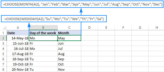 CHOOSE formula to return a custom day/month name from date