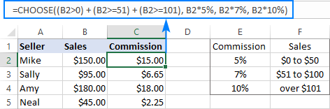 CHOOSE formula to perform different calculations based on condition