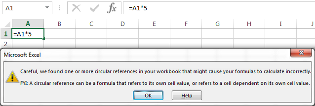 An Excel circular reference warning message