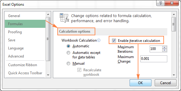 Enabling circular references in Excel