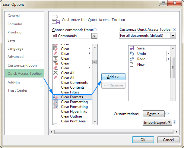 Adding the Clear Formats option to the Quick Access toolbar